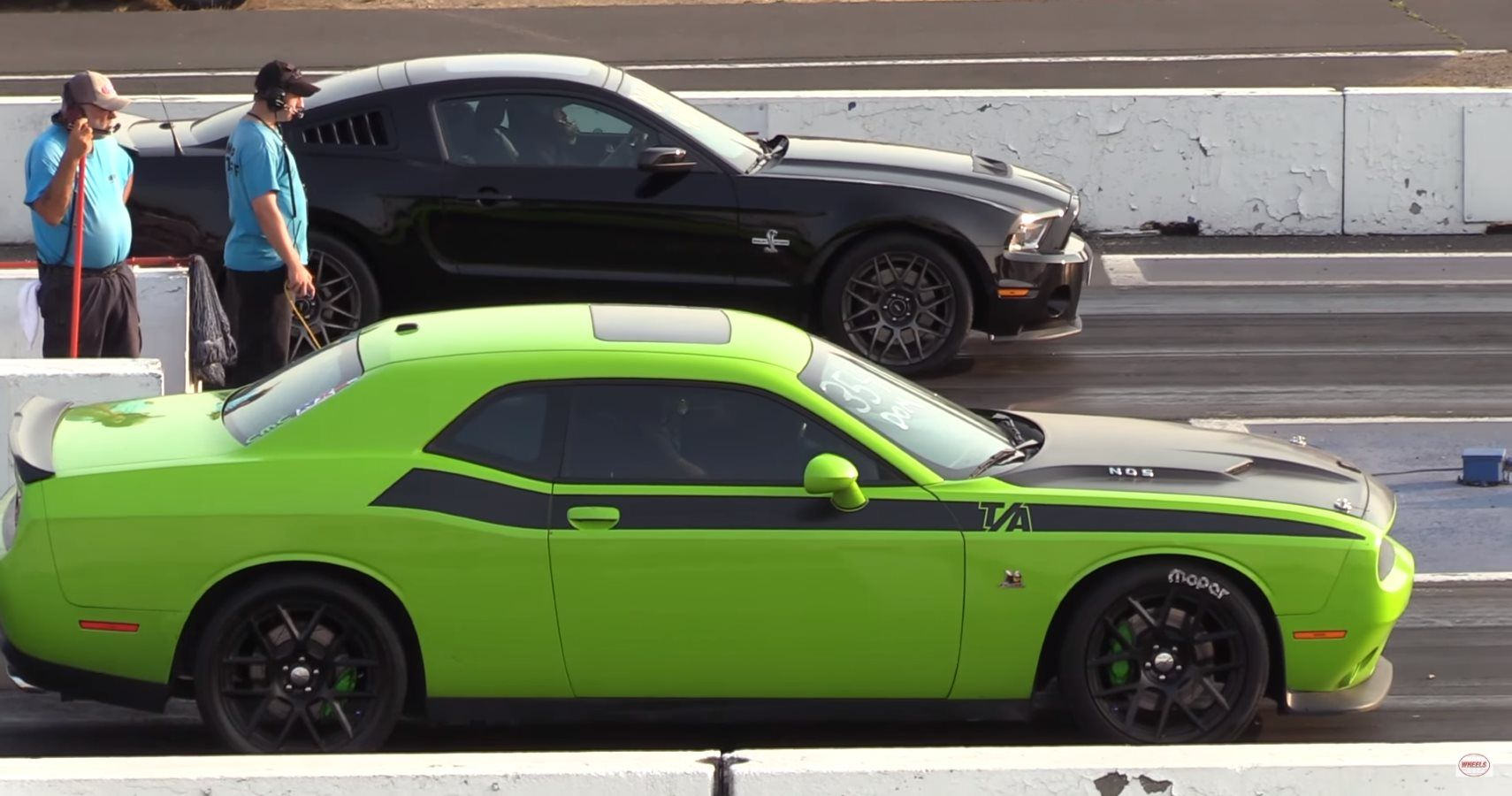 manual shelby mustang gt takes  dodge challenger scat pack   mile action