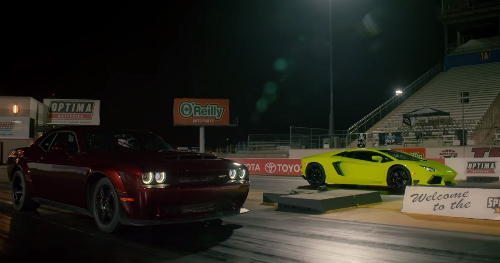 Watch A Dodge Demon Crush A Lamborghini Aventador At The Drag Strip