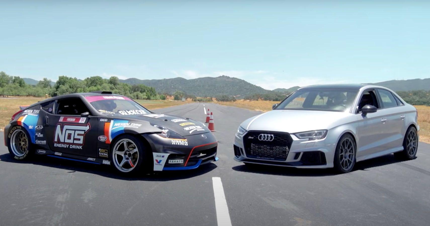 Watch The Hoonigans Race A Nissan 370Z Drifter Vs A Tuned Audi RS3