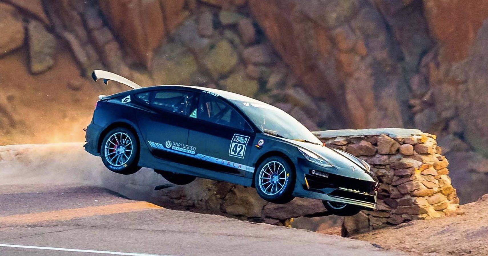 Watch A Tesla Model 3 Dominating Pikes Peak Before Spectacular Crash