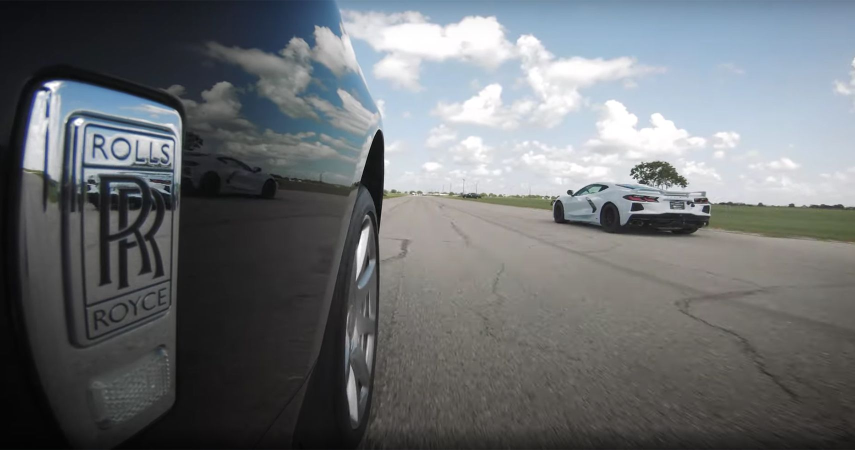 Watch A Rolls-Royce Wraith Take On A C8 Corvette In A Two-Run Drag Race