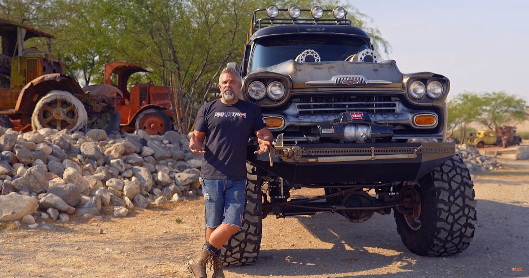 Check Out The Chevy Apache That Vegas Rat Rods Turned Into A Metal Tank Motorcycle Hauler