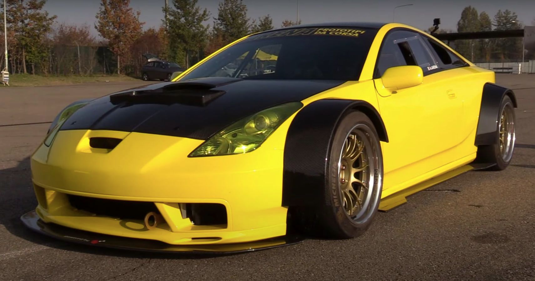 Listen To This Widebody Toyota Celica Boasting A Mid Engined Ferrari V8