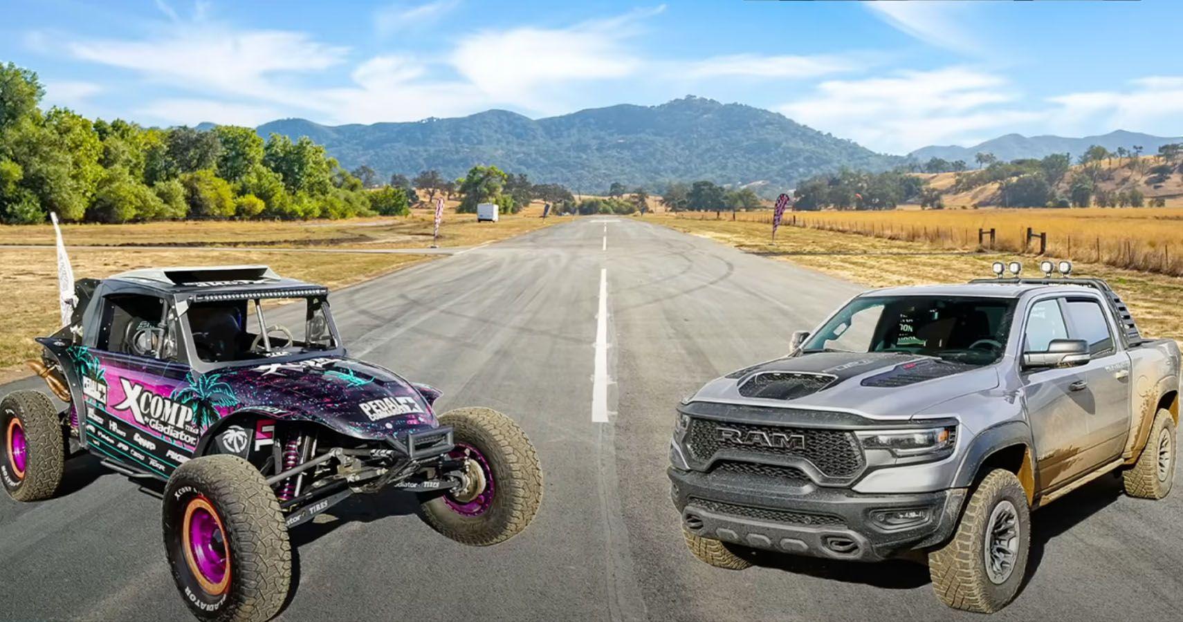Watch This 582-HP 'Megalodon' Baja Bug Drag Race The Hellcat-Powered Ram TRX