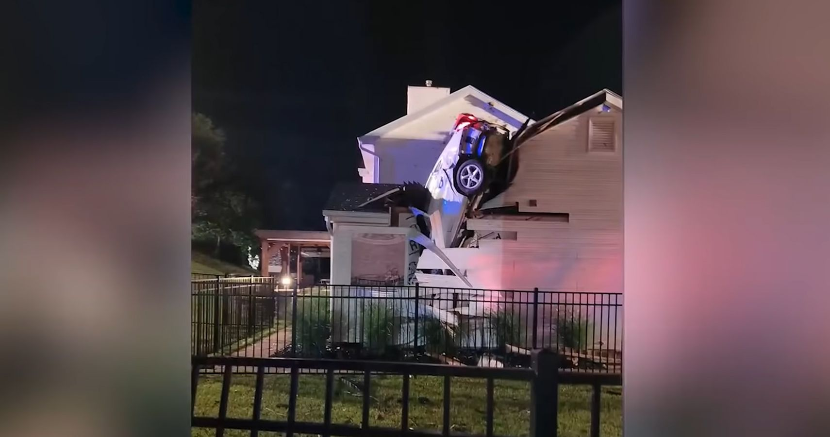 Car Crash Lands Through Roof Just Feet From Sleeping Couple