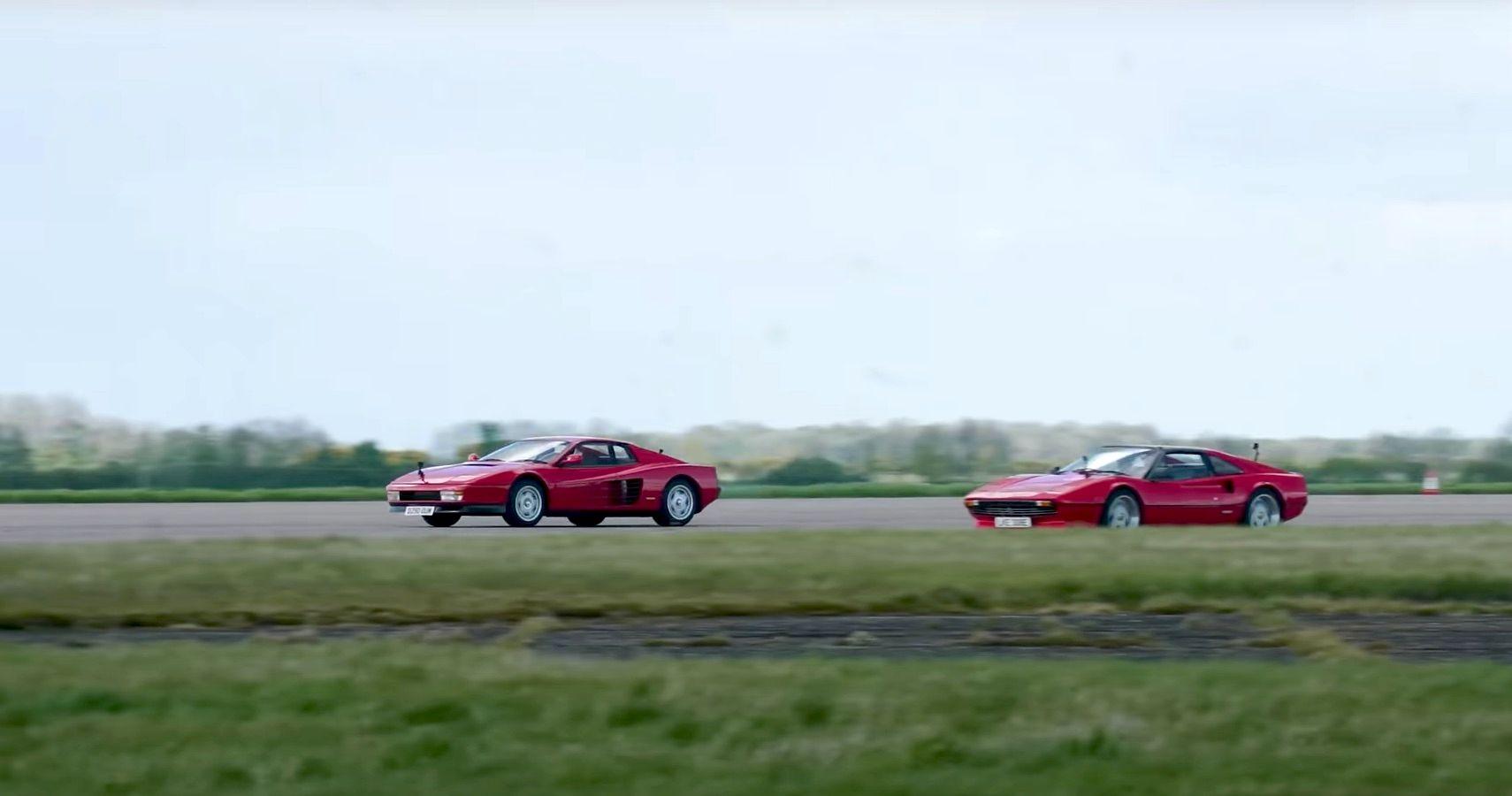 Watch This Ferrari 308 GTS Hiding A Tesla Motor Drag Race A Ferrari Testarossa